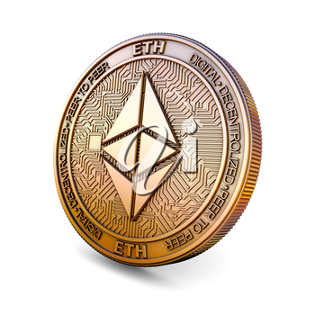 Ethereum ETH - Cryptocurrency Coin Isolated on White Background. 3D rendering