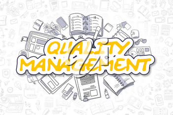 Quality Management - Hand Drawn Business Illustration with Business Doodles. Yellow Word - Quality Management - Cartoon Business Concept.