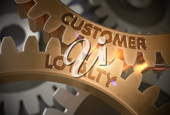 Customer Loyalty - Industrial Design. Customer Loyalty on the Mechanism of Golden Gears. 3D Rendering.