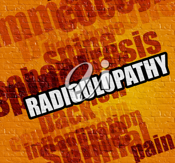 Modern healthcare concept: Yellow Brick Wall with Radiculopathy on the it . Radiculopathy on Yellow Brick Wall .