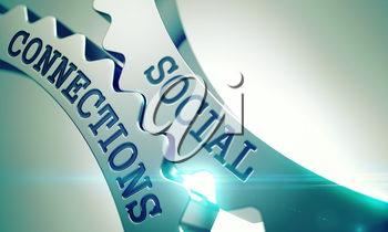 Social Connections Shiny Metal Gears - Communication Concept. with Lens Effect . Social Connections on the Mechanism of Metal Cogwheels with Lens Flare - Communication Concept . 3D Illustration .