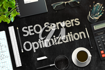 Black Chalkboard with SEO Servers Optimization Concept. 3d Rendering. Toned Image.