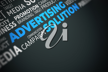 Advertising Solution - Word Cloud with Copy Space. Blue on Black Illustration.