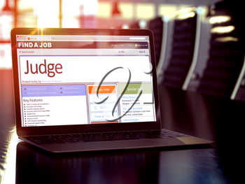 Judge - Job Searching Concept. Find a Job Concept. 3D Render.
