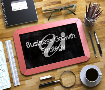 Business Growth Strategy - Red Small Chalkboard with Hand Drawn Text and Stationery on Office Desk. Top View. Business Growth Strategy Handwritten on Small Chalkboard. 3d Rendering.