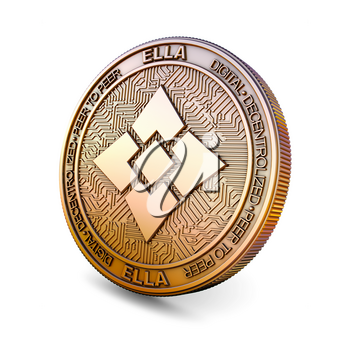 Ellaism ELLA - Cryptocurrency Coin Isolated on White Background. 3D rendering