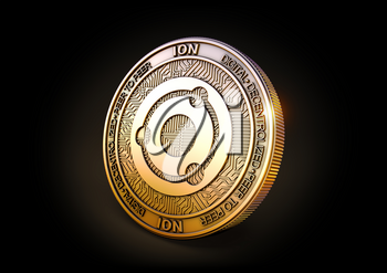 Ion ION - Cryptocurrency Coin on Black Background. 3D rendering