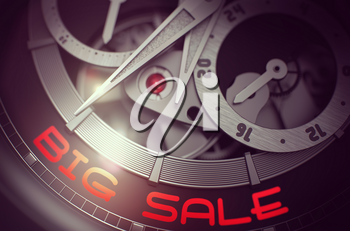 Big Sale on the Automatic Pocket Watch Detail, Chronograph Close View. Big Sale on the Face of Luxury Pocket Watch Machinery Macro Detail Monochrome. Time Concept with Lens Flare. 3D Rendering.