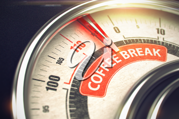 Metal Conceptual Meter with Red Punchline Reach the Coffee Break. Illustration with Depth of Field Effect. 3D Render.
