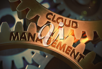 Cloud Management - Illustration with Lens Flare. Golden Metallic Gears with Cloud Management Concept. 3D Rendering.