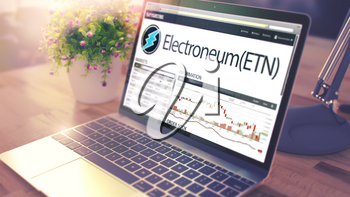 Web Page of a Exchange Marketplace with Dynamics of the Cost Change of Electroneum - ETN on Laptop Screen. Toned, Blurred Image. 3D Illustration .