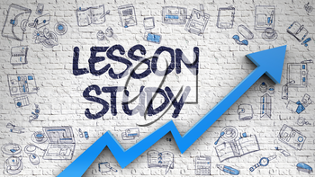 Lesson Study Drawn on Brick Wall. Illustration with Hand Drawn Icons. Lesson Study Inscription on the Line Style Illustation. with Blue Arrow and Doodle Design Icons Around. 3d.
