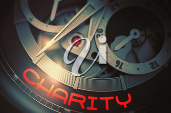 Elegant Wrist Watch Machinery Macro Detail with Inscription Charity. Charity on Vintage Wrist Watch, Chronograph Up Close. Time Concept with Lens Flare. 3D Rendering.