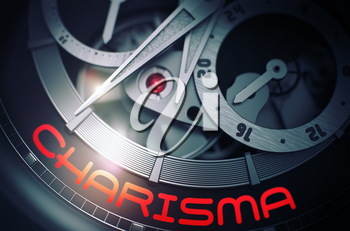 Charisma - Old Watch with Visible Mechanism and Inscription on Face. Men Wristwatch with Charisma Inscription on Face. Work Concept with Glow Effect and Lens Flare. 3D Rendering.