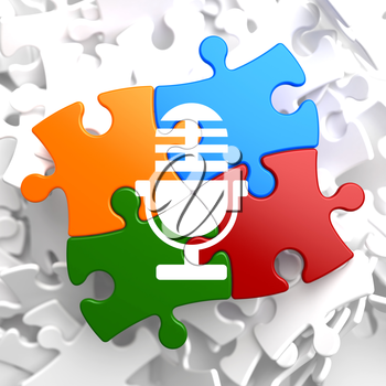 Microphone Icon on Multicolor Puzzle. Sound Concept.