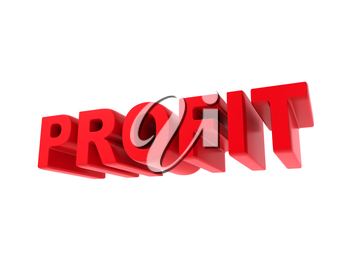 Profit - Red Text Isolated on White. Business Concept.