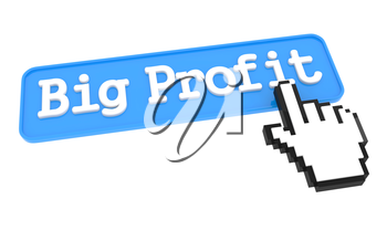 Big Profit Button with Hand Cursor. Business Concept.