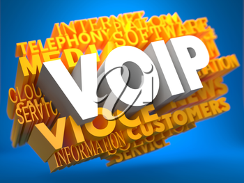 VOIP - White Text on Yellow WordCloud on Blue Background.