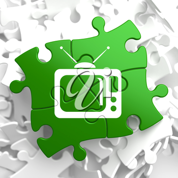 TV Set Icon on Green Puzzle. Television Concept.