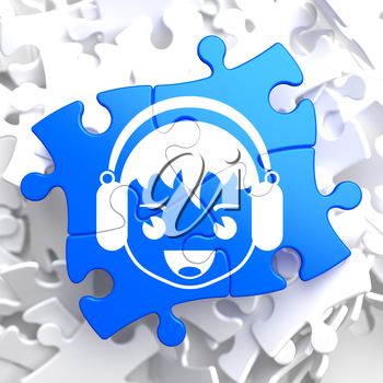 Happy Boy with Headphones Icon on Blue Puzzle. Sound, Music Concept.