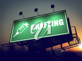 Grafting with Syringe Icon - Green Billboard on the Rising Sun Background.