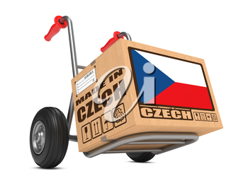 Cardboard Box with Flag of Czech Republic and Made in Czech Republic Slogan on Hand Truck White Background. Free Shipping Concept.