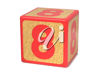 Number 8 on Red Wooden Childrens Alphabet Block Isolated on White. Educational Concept.