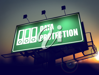 Data Protection with Folders Icon - Green Billboard on the Rising Sun Background.