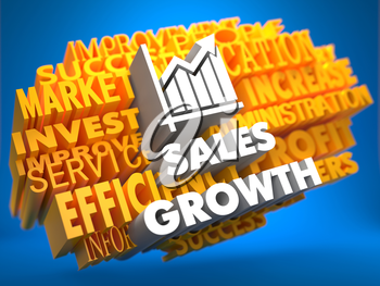 Sales Growth with Growth Chart Icon on Yellow WordCloud on Blue Background.