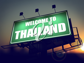 Welcome to Thailand - Green Billboard on the Rising Sun Background.