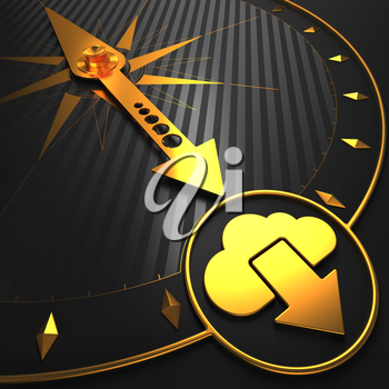 Golden Cloud Icon on Black Compass.