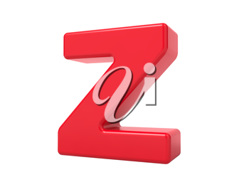 Red 3D Plastic Letter Z Isolated on White.