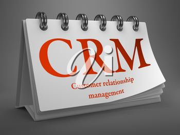 CRM - Customer Relationship Management - Red Text on White Desktop Calendar.