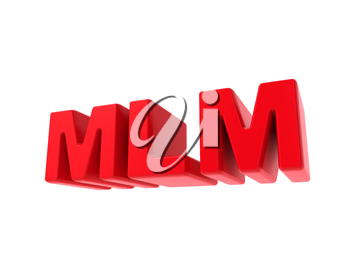 MLM - Multi-Level Marketing - Red Text Isolated on White. Business Concept.