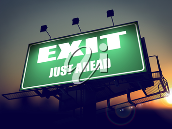 Exit Just Ahead - Green Billboard on the Rising Sun Background.