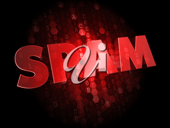 Spam - Red Color Text on Dark Digital Background.