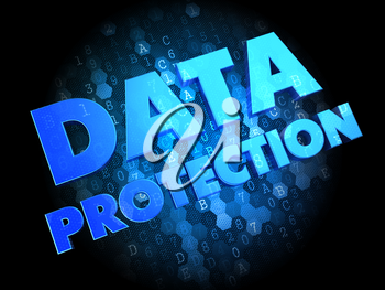 Data Protection - Blue Color Text on Dark Digital Background.