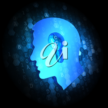 Blue Profile of Head with a Keyhole Icon on Dark Digital Background.