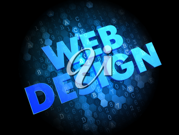 Web Design - Blue Color Text on Dark Digital Background.