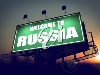 Welcome to Russia - Green Billboard on the Rising Sun Background.