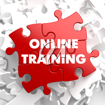 Online Training on Red Puzzle on White Background.