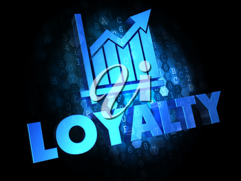 Loyalty with Growth Chart - Blue Color Text on Dark Digital Background.