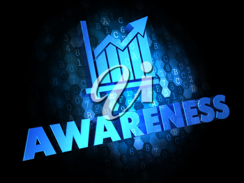 Awareness with Growth Chart - Blue Color Text on Dark Digital Background.