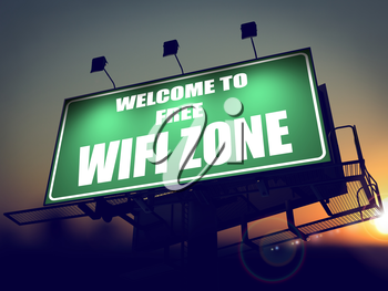 Welcome to Free WiFi  Zone - Green Billboard on the Rising Sun Background.