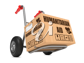 Humanitarian Aid Slogan on Cardboard Box on Hand Truck White Background.