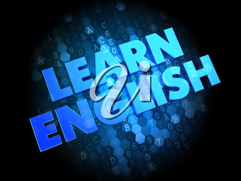 Learn English - Blue Color Text on Dark Digital Background.