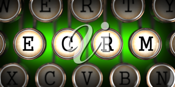 ECRM on Old Typewriter's Keys on Green Background.