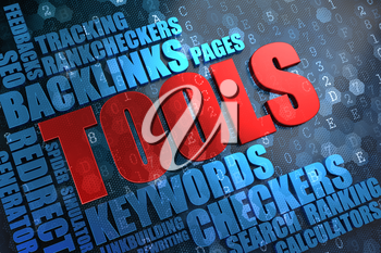 Tools - Red Main Word with Blue Wordcloud on Digital Background.