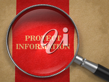 Protect Information concept. Magnifying Glass on Old Paper with Red Vertical Line Background.