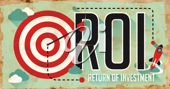 ROI Concept. Poster on Old Paper in Flat Design with Long Shadows.